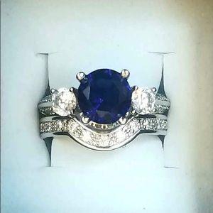 Sterling silver blue/white sapphire wedding set 6
